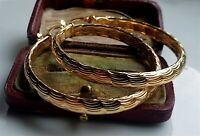 LARGE 9ct Gold Patterned Hoop Earrings gf, DON'T MISS THESE,SEE PICS { 94 }