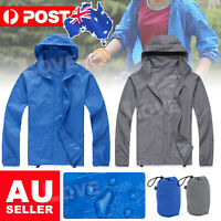 Mens Womens Rain Run Coat Lightweight Windproof Cycling Hooded Waterproof Jacket