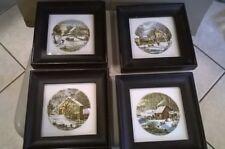 (4) Currier & Ives Black Framed Ceramic Pictures In Tiles In Winter Scenes