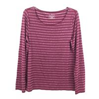 Talbots Womens Size Large Sparkly Maroon Striped Long Sleeve Stretch Blouse Top