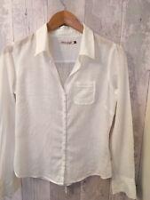 White Stuff, Size 12, White Cotton Long Sleeved Blouse / Shirt