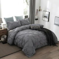 Gray Diamond Pintuck Quilt Cover Duvet Cover Set Queen King Size Bedding Set US