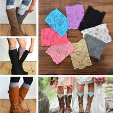 Women Lace Boot Leg Cuffs Stretch Soft Laced Boot Socks Leg Warmers Trim Toppers