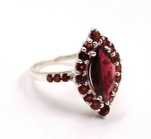 Cocktail Ring Garnet Ring Size 6,7 Solid 925 Sterling Silver Jewelry Party Wear