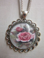Vintage rose  glass cabochon pendant charm necklace antique silver plated pink