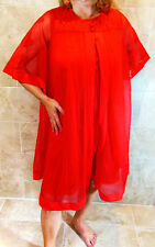 VINTAGE GAYMODE RED DOUBLE LAYER LACE CHIFFON NIGHTGOWN AND ROBE SET S M EVC