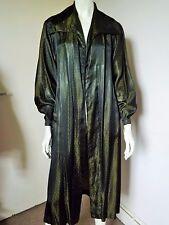 Vintage 40s ORIGINAL ~ 2 Tone Black Green Dots Glossy Satin Opera/Swing Coat S/M