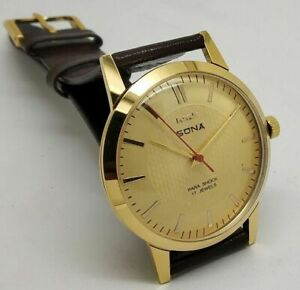 hmt sona hand winding men's gold plated 17 jewels vintage watch run order