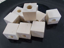 20 x 20mm WOODEN CUBE Square Beads - Unpainted Natural Unfinished LARGE HOLE 9mm