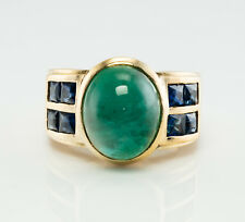 Emerald Cabochon Sapphire Ring 18K Gold Band