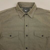 REI Mens Pearl Snap Western Shirt Short Sleeve Size Small Solid Green