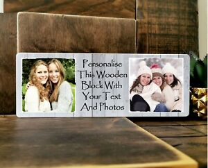 "11x4"" Personalised Wooden Family Photo & Text Block Frame Gif Best Friend Baby"
