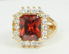 Women's 24 Carat Triple Gold plated Red & clear Zircon ring jewellery UK Size P