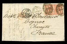 Gb Qv 1865 Double Rate Cover 4d Garter Wmk Sg82 Pair Lk Ll. London Ec77.cv£400