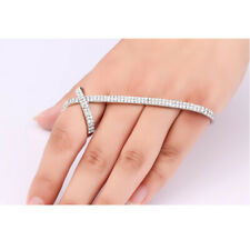 Punk Crystal Zircon Hand Cuff Ring Bracelet Palm Bangle Fashion Jewelry Gift