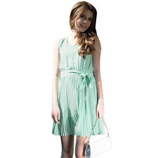 New Women's Summer Dress Pleated Chiffon Sleeveless Sundress Mint Green