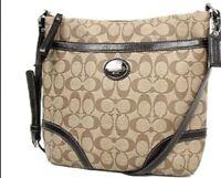 Coach Peyton File Crossbody Signature Bag F18926 Brown Khaki  Canvas
