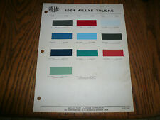 1964 Willys ZAC-LAC Color Chips