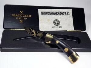 original BÖKER BLACK GOLD 1992 BERGBAU MINER TASCHENMESSER Nr. 4699 mit OVP