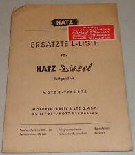 Teilekatalog / Ersatzteilliste Hatz Diesel Motor E 75 Stand 09/1961