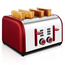 4 Slice Toaster Electric Retro Style Wide Slots Bread Browning Sets Red Tobox Us