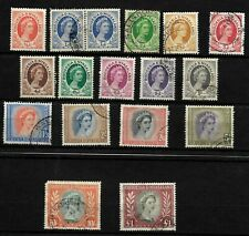 Rhodesia & Nyasaland 1954 QEII definitives, complete set used (R002)