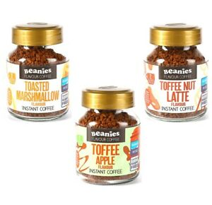3 x BEANIES FLAVOURED INSTANT COFFEE JARS: TOFFEE NUT LATTE, APPLE, MARSHMALLOW