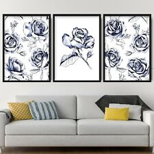 Set of 3 Navy Floral Abstract Rose Flower Wall Art Print Picture Poster