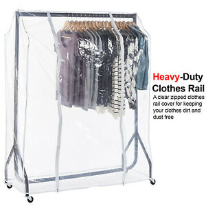 Clear Quality Clothes Garment Strong Clear Waterproof 4ft Tidy Rail Cover (Only)