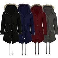 New Womens Ladies Parka Fleece Jacket Trench Coat Faux Fur Hooded Coat Plus Size