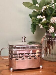 Gorgeous Carefully Kept ART DECO  Silver plate Depression Glass EPNS Butter Dish