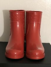 New Women's Coach FG1877 Signatrue Rain Boots Size 7B Color True Red: