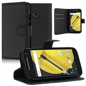 NEW BLACK WALLET LEATHER GEL CASE WITH CARD SLOT FOR Motorola Moto E 2014 1st