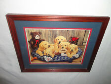 Home Interiors ' Basket of Puppies Dogs ' Picture Sooo Cute