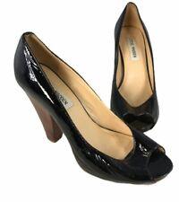Steve Madden Womens Size 6M Frantky Peep Toe Pumps Black Patent Leather