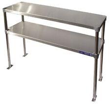 """Stainless Steel 14"""" x 48"""" Table Mounted Adjustable Double Overshelf"""