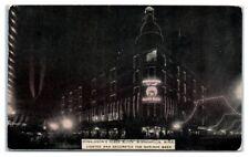 1912 Donaldson's Glass Block, Minneapolis, MN Lighted for Shriner Week Postcard