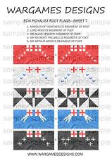6 mm ECW royaliste pied drapeaux Feuille 7-Pike & Shotte, brouillard, rbd, wecw, baroque