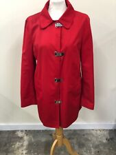 Michael Kors Red Collared Mac Coat With Metal Fastenings Size Large L