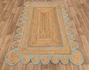 5x8 feet square scalloped jute rug sky blue border jute boho rug jute area rugs