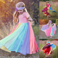 1-6T Toddler Baby Girl Rainbow Splice Party Gown Summer Short Sleeeve Long Dress