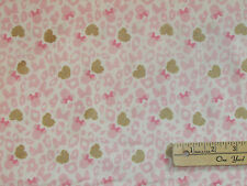 Minnie Mouse Ears Leopard Print Pink & Gold Fabric by the 1/2 Yard  #85270202
