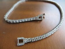 "Antique Art Deco OTIS Sterling Bezel Clear White Crystal Necklace Choker 14.25"""