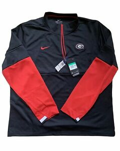 Nike UGA Georgia Bulldogs Therma Dri-Fit 1/4 Zip Pullover Size XL Black Red NWT