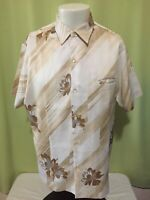 Vintage Tori Richard Men's Light Brown Floral Hawaiian Shirt Size Large