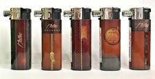 5 X Pipe Lighters Soft Flame Adjustable Refillable Brown Leather Effect