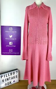 Vintage Stunning 70s Size 10/12 Pink Zip Hand Crocheted Long Sleeved Dress