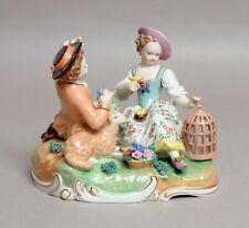 A BEAUTIFUL ANTIQUE GERMAN DRESDEN PORCELAIN FIGURE GROUP, PERFECT