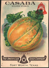 *Vintage* CASABA MELON Fruit Seed Packet Front Only AMERICAN SEED 1930's TEXAS