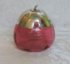 Vasetto per miele vetro Cranberry con coperchio in forma di frutto Art Nouveau